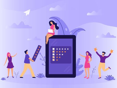 Vector web page concept design with online review theme. Office small characters people at smartphone screen giving stars, feedback and rating. Stars line icons. Landing page, mobile app, UI, UX, site Stock Illustratie