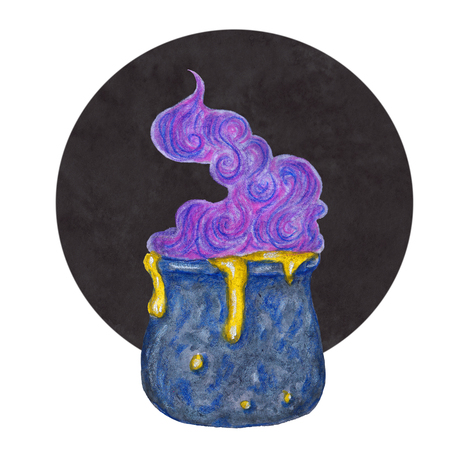 Blue watercolor witchs cauldron on black background