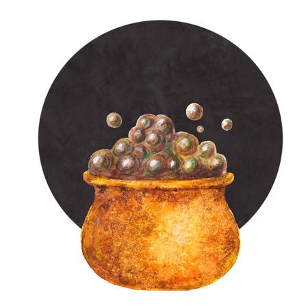 Orange watercolor witchs cauldron on black background