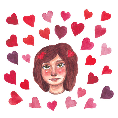 Cartoon watercolor colored hearts and girl on white background Stock Photo