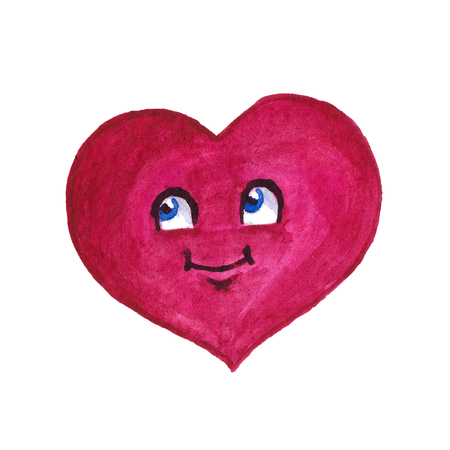 Cartoon watercolor dark pink heart on white background