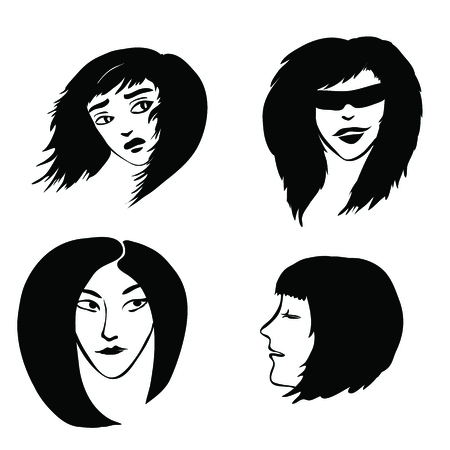 four vector black female heads