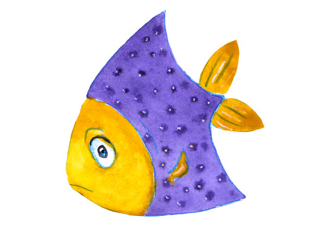 cute little purple watercolor smiling fish