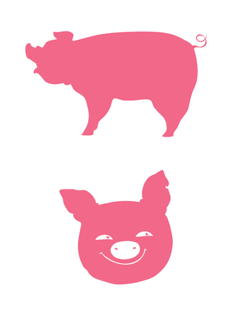 vector pink pig  silhouette and muzzle Ilustrace