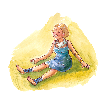 Watercolor girl in a blue dress sitting on the green grass Archivio Fotografico - 111607286