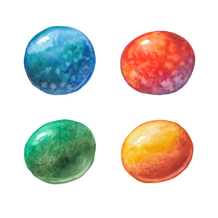 four watercolor multi-colored balls on a white background Stock Photo