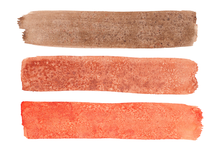 Watercolor set of red, brown and orange long brush strokes with texture of salt on white background