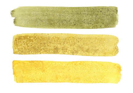 Watercolor set of green and yellow long brush strokes with texture of salt on white background Stock Photo