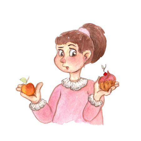 watercolor illustration of a girl with a cake and an apple on white background