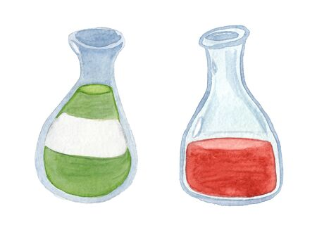watercolor drawing of two bottle with liquid  on a white background