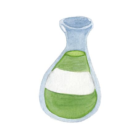 watercolor drawing of a botttle with green liquid  on a white background  写真素材