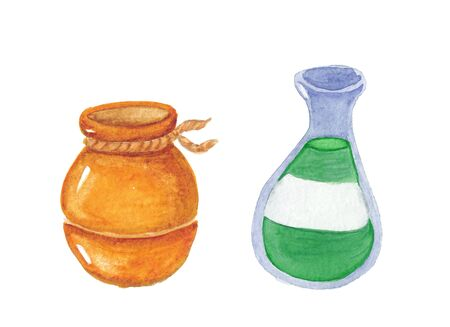 watercolor drawing of a bottle and a pot  on a white background