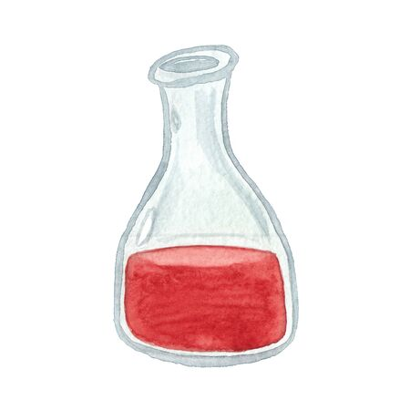 watercolor drawing of a botttle with red liquid  on a white background