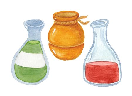 watercolor drawing of two bottle and pot  on a white background