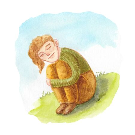 watercolor illustration of a man with his eyes closed sitting on the grass
