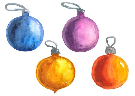 watercolor illustration of a Christmas ball on a white background Standard-Bild