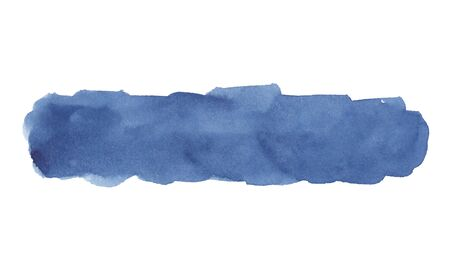 Watercolor drawing of blue stripe on white background