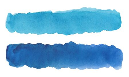 Watercolor drawing of blue stripes on white background Standard-Bild