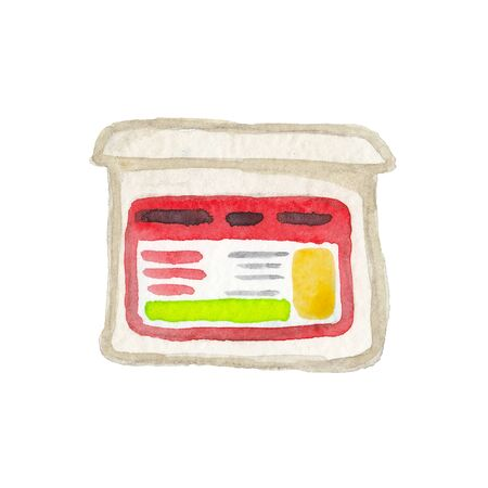 watercolor illustration of a box from a store on a white background