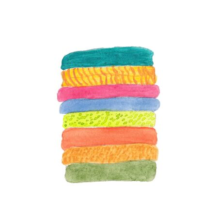 watercolor illustration of a stack of linen and clothes made of colored fabrics on a white background