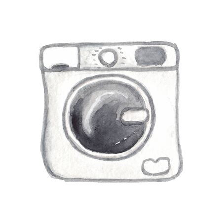 watercolor illustration of a white washing machine on a white background