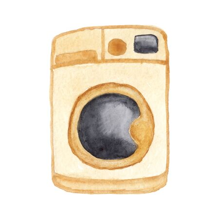 watercolor illustration of a beige washing machine on a white background