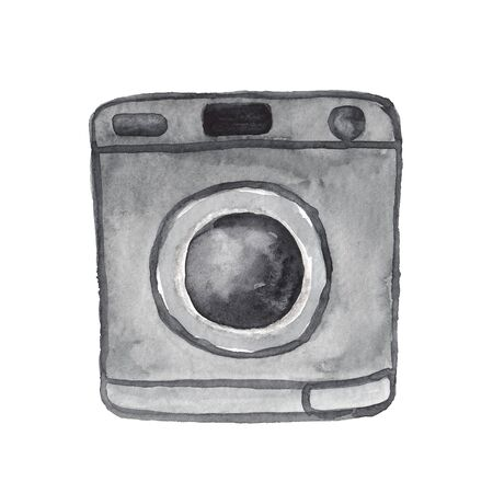 watercolor illustration of a grey washing machine on a white background