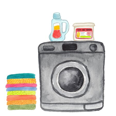 watercolor illustration of a  washing machine on a white background Standard-Bild