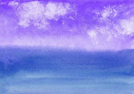 watercolor background with the image of sky with clouds and sea in the evening Standard-Bild