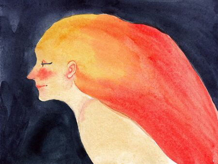 watercolor illustration of a portrait of a woman with long red-orange hair on a dark background
