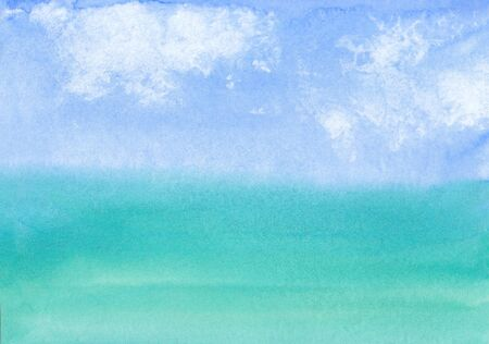 watercolor rectangular background with the image of sky with clouds and sea