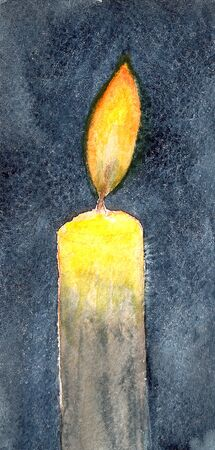 watercolor illustration of a burning candle on a dark background