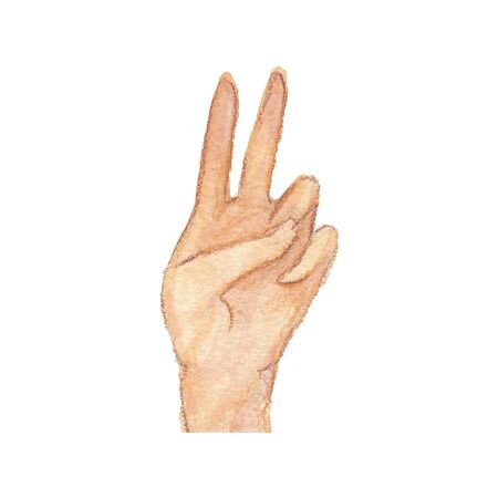 watercolor illustration of one hand on a white background Standard-Bild