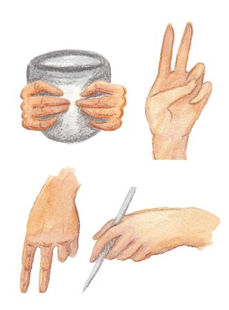 set of watercolor illustration of hands on a white background