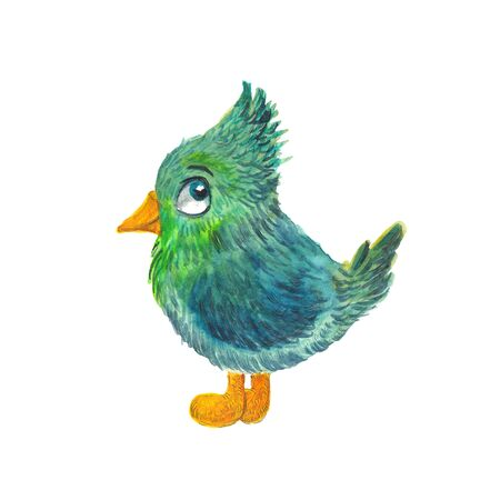 watercolor illustration of a green bird on a white background