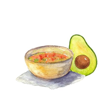 watercolor illustration of avocado and salad on white background Standard-Bild