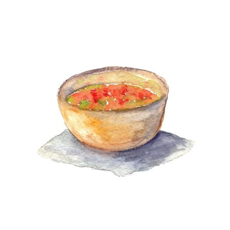 watercolor illustration of a bowl of salad on a white background Standard-Bild