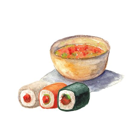 watercolor illustration of sushi and roll on a white background