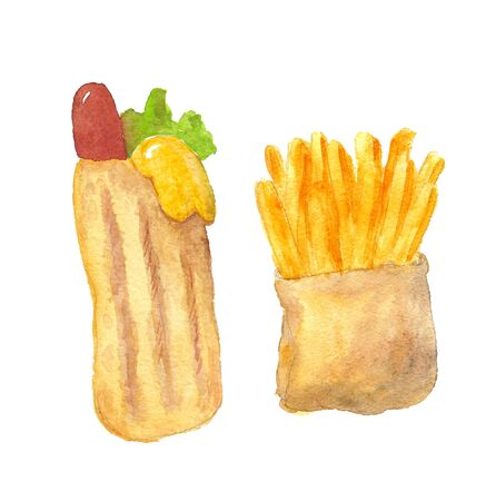 watercolor illustration of fri potato and hot dog on a white background