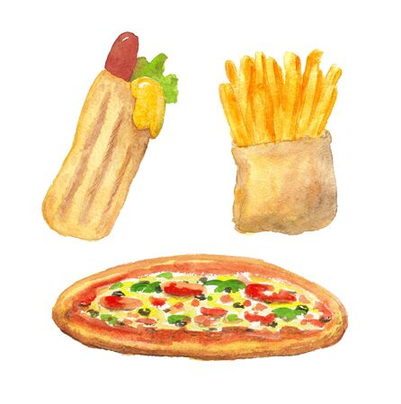 watercolor illustration of fri potato, pizza and hot dog on a white background