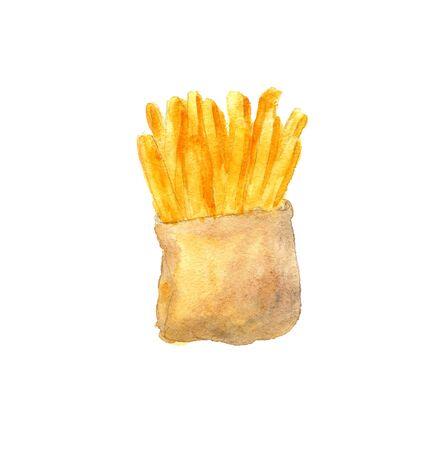watercolor illustration of fri potato on a white background Standard-Bild