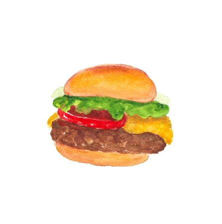 watercolor illustration of hamburger on a white background