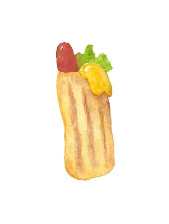 watercolor illustration of a sausage roll on a white background Standard-Bild