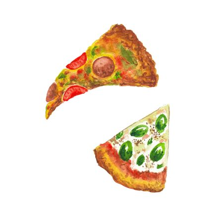 watercolor illustration of pizza on a white background