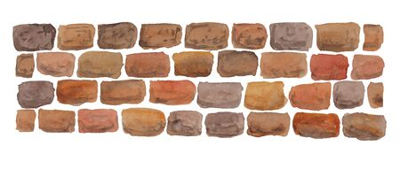 watercolor illustration of masonry on a white background