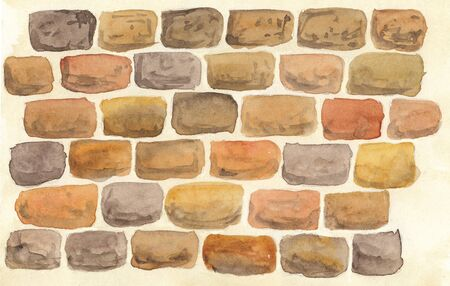 watercolor illustration of a wall with masonry in different colors Standard-Bild