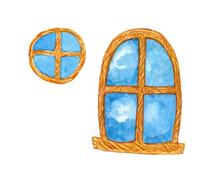 watercolor illustration of a wooden window on a white background