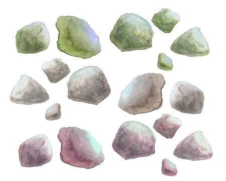 watercolor illustration of stones on a white background Standard-Bild