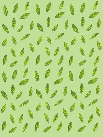 watercolor pattern with green leaves on a green background Standard-Bild