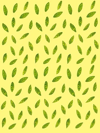 watercolor pattern with green leaves on a yellow background